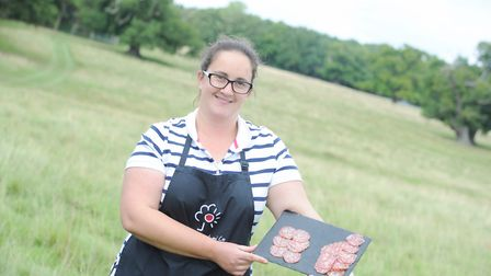 Rebecca Miles with some salami. Picture: SARAH LUCY BROWN