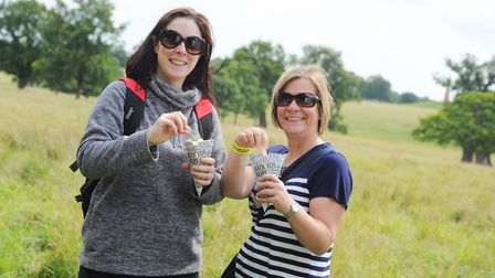 Johanna Lloyd and Jo Foster tucking in to fish and chips. Picture: SARAH LUCY BROWN