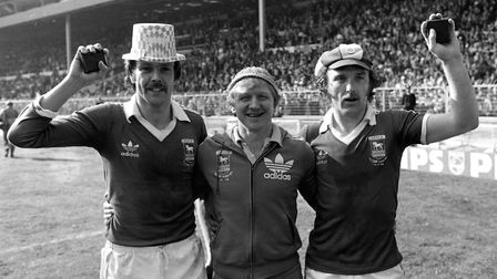 Nice hats, lads! Allan Hunter and Kevin Beattie having a a whale of a time after the 1978 FA Cup fin