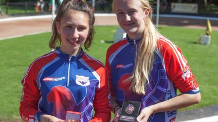 Ipswich girls Gemma Hill, left, two podiums for her over the weekend, and Chloe Pearce