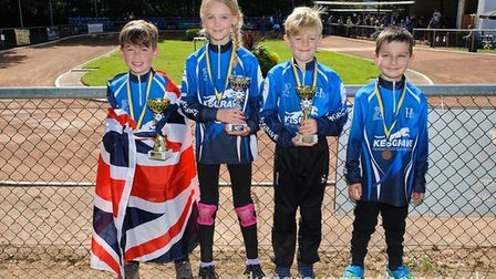 Kesgrave Panthers' riders on parade at Leicester in the 'Little League's series. Left to right: Luca