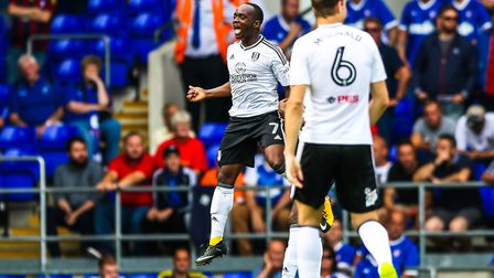 Neeskens Kebano celebrates after scoring to give Fulham a 1-0 lead at Portman Road yesterday. Photo: