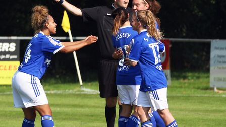 Goalscorer Lindsey Cooper celebrates her goal with her team-mates. Picture: Ross Halls