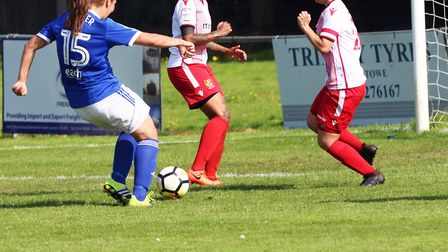 Lindsey Cooper puts Ipswich in front. Picture: Ross Halls