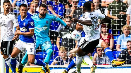 This effort by Sheyi Ojo hit Myles Kenlock before going out for a corner, Ipswich, on 26 August 201