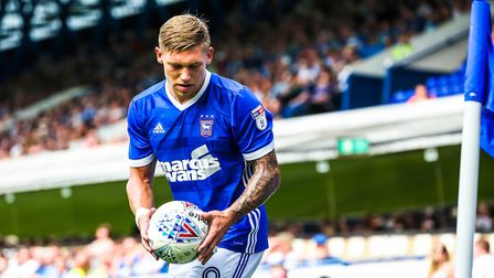 Martyn Waghorn about to take a corner in the first half of the Ipswich Town v Fulham match. Pictu