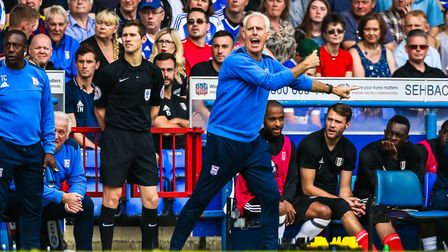 An animated Town manager Mick McCarthy on the touchline during the first half of the Ipswich Town v