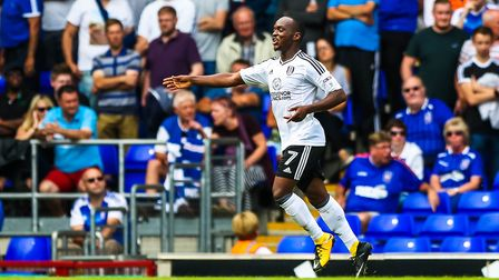 Neeskens Kebano celebrates after scoring to give the visitors a 1-0 lead in the Ipswich Town v Fulha