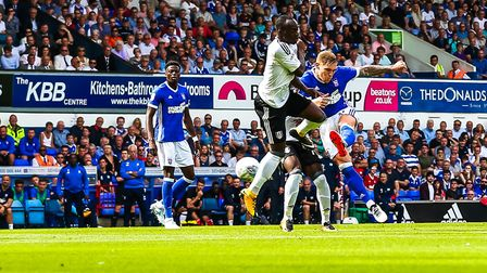 This Martyn Waghorn shoots on 15 minutes in the Ipswich Town v Fulham (Sky Bet Championship) match..