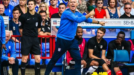 Ipswich Town boss Mick McCarthy urges his side on during yesterday's 2-0 home defeat to Fulham. Pict