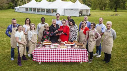Sandi Toksvig, Paul Hollywood, Prue Leith and Noel Fielding with this year's Great British Bake Off