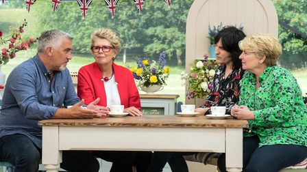 The Great British Bake Off's Paul Hollywood, Prue Leith, Noel Fielding and Sandi Toksvig in discussi
