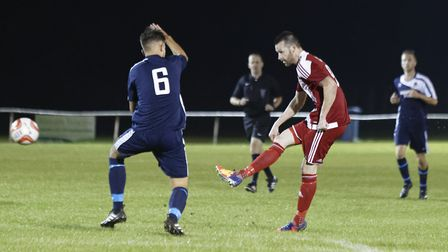 Felixstowe's Miles Powell completes his hat-trick in the 5-1 win at Hadleigh in midweek.
