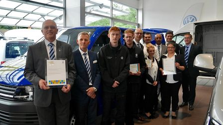 Members of the Volkswagen Van Centre team in Bury St Edmunds with their awards. Picture: Sara Cotte