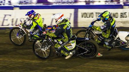Kyle Newman ahead of Berwick's Dany Gappmaier and Kevin Doolan at Foxhall on Thursday night. The Wit