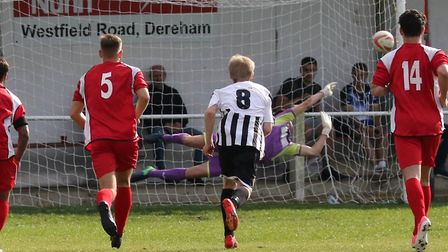 Woodbridge's Alfie Stronge pulls off an amazing penalty save which kept the scorer at 1-3 at Swaffha