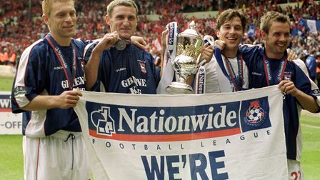 Ipswich Town win the Division One play-off final at Wembley in May 2000: left to right, Richard Nayl