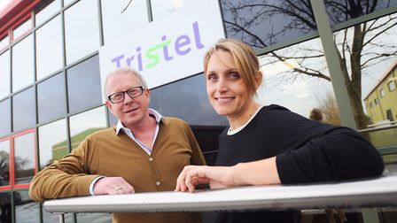 Chief executive Paul Swinney and finance director Liz Dixon outside Tristel's offices at Snailwell,