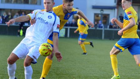 Lowestoft's Jack Reed (white) on target last weekend for the Trawlerboys