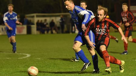 Lee Grimwood, right, was on target as Achilles went top of the table. Picture: ARCHANT