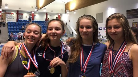 The County Upper School girls swimming team which will compete at the Olympic Park. Picture: BRENDON