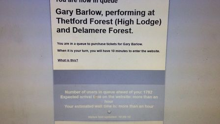 Tickets went on sale for Gary Barlow's Thetford Forest concert at 10am today (October 20) and instan