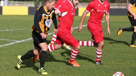 New signing Dave Cowley on the attack for Stow. Picture: RICHARD MARSHAM