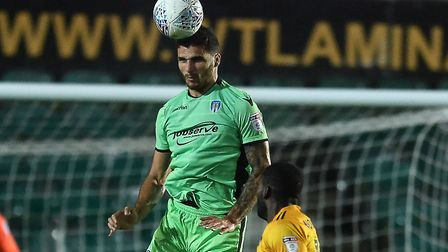 Ryan Inniss wins a header at Newport during last week's 2-1 win at Rodney Parade. Picture: RICHARD B