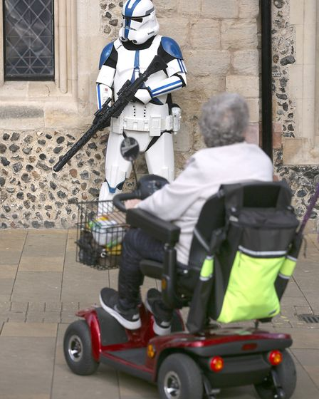 """""""This is not the mobility scooter you are looking for!"""" A stormtrooper takes fright at some of the l"""
