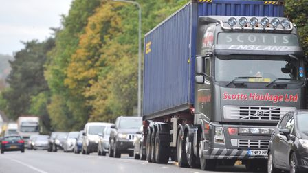 Traffic in Ipswich ground to halt after the fatal crash on the Orwell Bridge on Friday morning. Pict