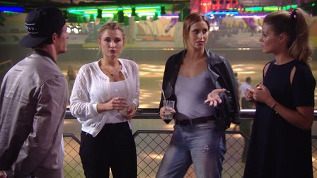 TOWIE stars Jake Hall, Billie Faiers, Ferne McCann and Chloe Lewis filming at Rollerworld, Colcheste