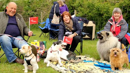 East Anglian Air Ambulance supporters with their dogs at a fundraising event. Picture: DEBORAH NORWO