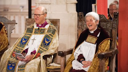 A smiling Very Reverend Dr Frances Ward, Dean of St Edmundsbury, with the Rt Rev Martin Seeley, Bish