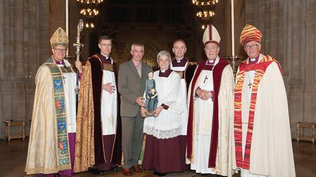 The Very Reverend Dr Frances Ward, Dean of St Edmundsbury, with husband Peter, centre, with from lef