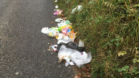 Rubbish left near Hemingstone Church at the weekend. Picture: PAUL GEATER