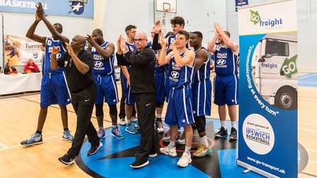 Ipswich Basketball Senior Men applaud the crowd after Saturday's win over Liverpool. Picture: PAVEL