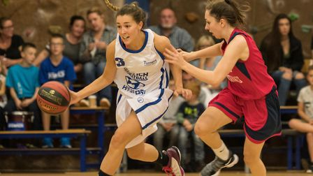 Ipswich's Amy Linton brings the ball up court against Northamptonshire. Picture: PAVEL KRICKA