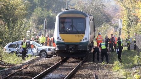 The scene near Melton railway station after a crash between a train and a car. Picture: NIGE BROWN