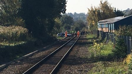 The car that was struck by a train at Melton railway station. Picture: GEMMA MITCHELL