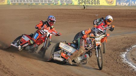 Mildenhall's Connor Mountain, in red, leads Drew Kemp. Picture: CAROL PRYKE-DOWNIE