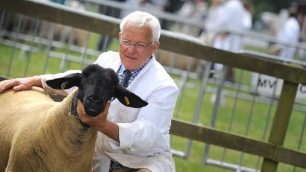 Stephen Cobbald with his reserve champion Suffolk sheep at the Suffolk Show 2017. Picture:SARAH LUC