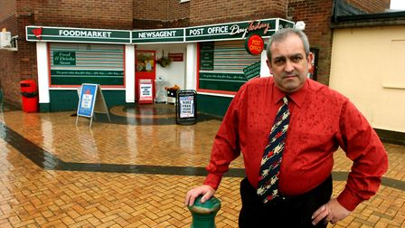 Postmaster Carlo Gugliemi outside Honeycroft Post Office in Lawford, which has been robbed. Picture: