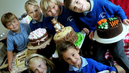 Children with their cakes at the Hartest Primary School Bake-Off. Picture: ANDY ABBOTT