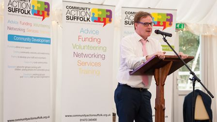 Pete Richardson, chief executive of Community Action Suffolk addresses the awards. Picture: BEN MATT
