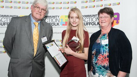 Norman and Glenys Towers present the Andrew Towers Award for young person of the year to Eve Brooks-