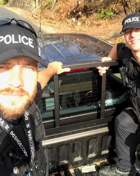 PC Jon Harvey (left) and PC Pete French on patrol in Tortola following Hurricane Irma. Picture: SUFF