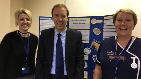 Matt Hancock MP with Nathalie Gilder (left) and Isabel Osborne. Picture: CONTRIBUTED