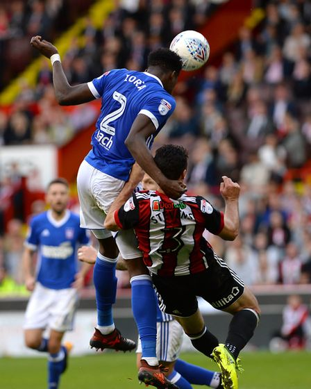 Dominic Iorfa with a second half headed chance at Bramall lane Picture Pagepix