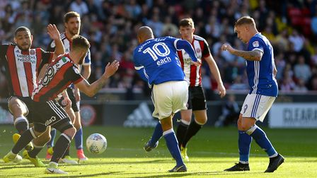 David McGoldrick with a first half chance saved at Sheffield United. Picture: PAGEPIX LTD