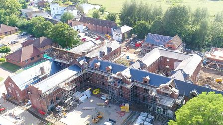 An aerial view of the new St Gregory's Place development at the former Walnuttree Hospital site in S